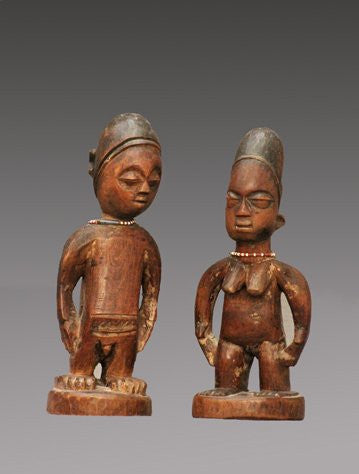 Yoruba Ibeji Twin Figures, wood, pigment and beads, Nigeria, early 20th century
