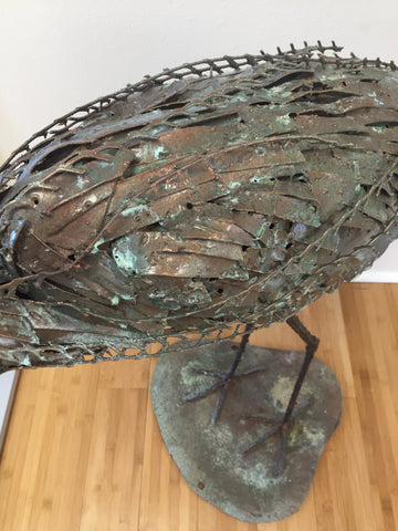 "William Allen (American, 20th/21st century), ""Heron"", welded steel large sculpture with copper finish"