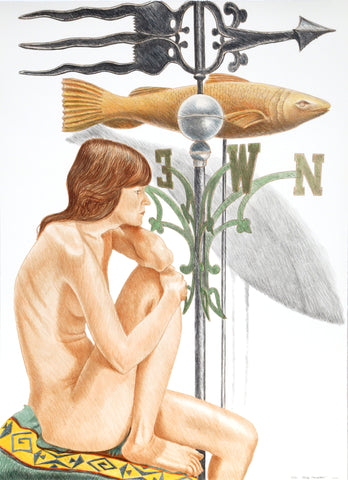 "Philip Pearlstein (American, b. 1924), ""Nude Models with Banner and Fish Weathervanes"", 2010, lithograph, signed, ed. 40"