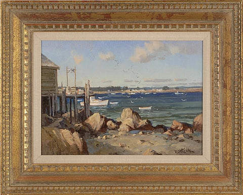 "Paul Strisik (American, 1918-1998), ""Sparkling Harbor"" (Maine), oil on masonite, signed"