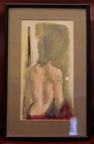 Czap (20th Century), Back of a woman, gouache on paper, signed