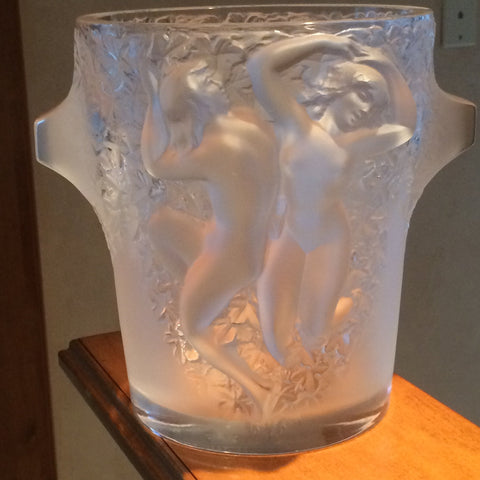 "French Frosted Glass Champagne Cooler, in the ""Ganymede"" pattern, manufactured by Lalique, ca. late 20th century"