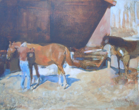 Steve Smith (American), Horse Being Brushed, 2008, oil on panel