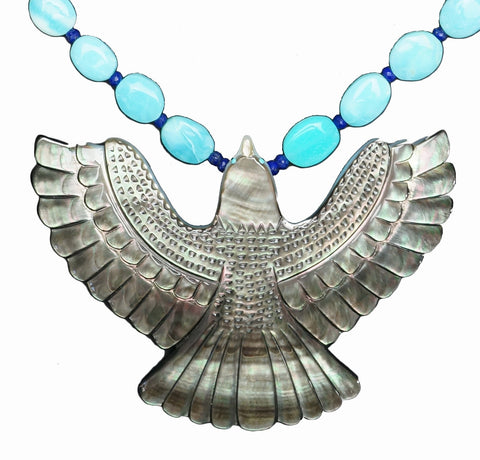 Zuni Carved Mother of Pearl Eagle Necklace, Troy Sice (b. 1978)