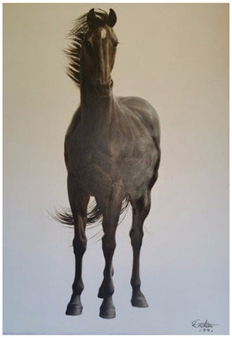 He Datian (Chinese, b. 1950), Untitled (Black Horse), 1991, oil on canvas, signed