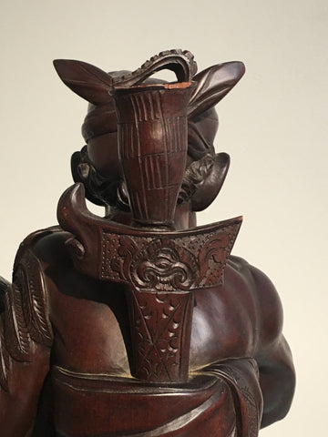 Balinese Klungkung Carved Hardwood Figure of a Man with a Rooster, ca. 1950