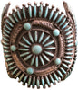 Zuni Needlepoint Turquoise and Silver Cuff Bracelet, attributed to Bennie Bowekaty, ca. 1950
