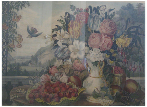 "Currier & Ives (American printing firm, 1834-1907) ""Landscape, Fruit and Flowers,"" 1862, lithograph with hand coloring, 1862, (Conningham 3440, Gale 3710)"
