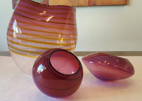 Dale Chihuly (American, b. 1941), Royal Violet Basket Set, 2010, Portland Press Edition, three parts, signed