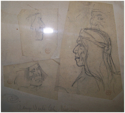 "Maynard Dixon (American, 1875-1946), ""Three Tonto Apaches, Camp Verde, Arizona"" (Sketches), 1900, graphite on paper, signed"