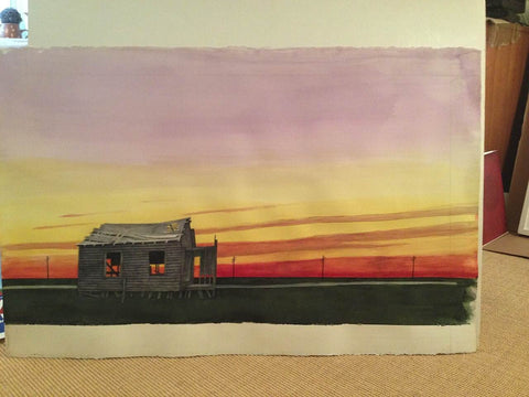 Gregory S. Bruno (American, 1926-2015), Barn at Sunset, watercolor on paper, signed