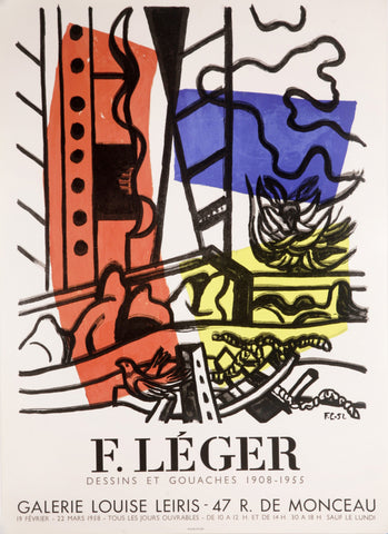 "After Fernand Léger (French, 1881-1955), ""Dessins et Gouaches Galerie Louise Leiris"", 1958, lithographic poster"