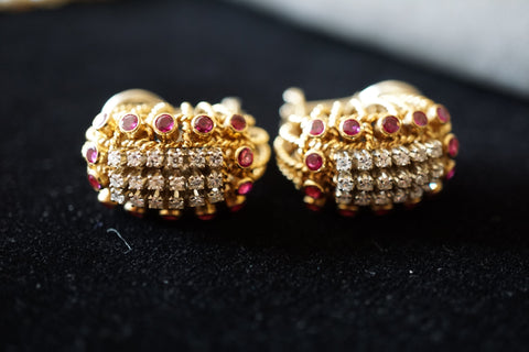 18K Yellow Gold, Diamond and Ruby Earrings, 20th century