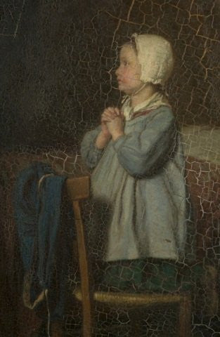 André Henri Dargelas (French, 1828-1906), The Evening Prayer, oil on board, signed