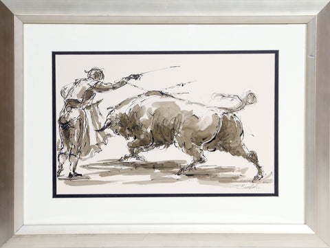 Charles Burdick (American, b. 1924), Bull Fighter, ca. 1970, ink on paper