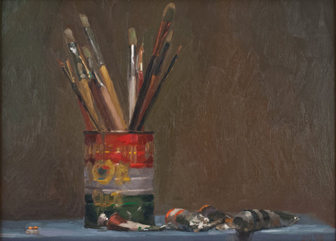 Jacob Collins (American, b. 1964), Brushes and Paint, 1993, oil on panel