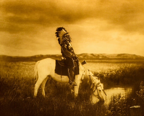 "Edward S. Curtis (American, 1868-1952), ""An Oasis in the Badlands\"", taken 1905, printed 2008, contemporary goldtone/orotone"