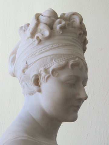 After Antonio Canova (Italian, 1757-1822), Paolina Borghese Bonaparte as Venus Victorious (Venus Victrix), carved white marble bust, late 19th/early 20th century
