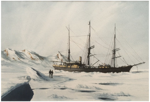 William Henry Bishop (British, b. 1942), A ship in icy waters, watercolor on paper, signed