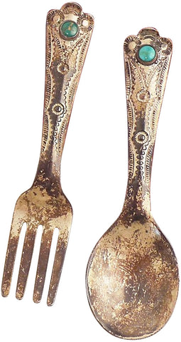 Navajo Silver Baby Fork and Spoon Set, Kenneth Begay (1913-1977) for The White Hogan