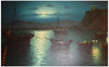 Alex Brickman (Greek, 1900-1954), Harbor View at Night, oil on canvas, signed