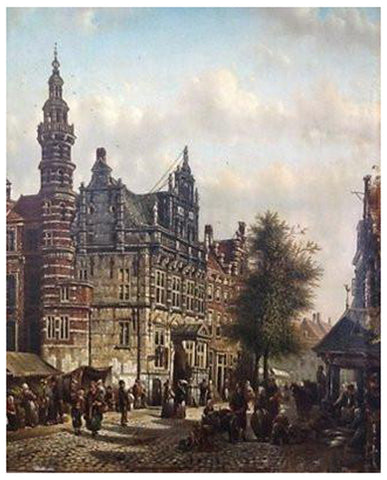 Johannes Franciscus Spohler (Dutch, 1853-1894), The Town Hall, The Hague, oil on panel, signed