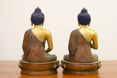 Two Nepalese Parcel Gilt Bronze Buddhas, 20th century