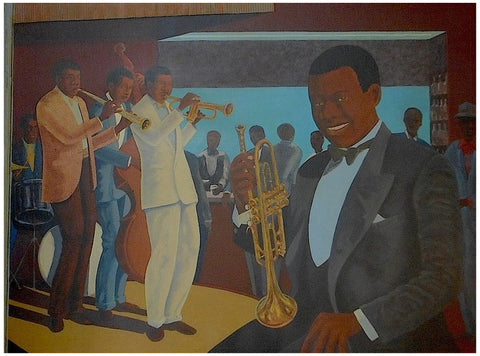 "John Riddle (American, 1934-2002), ""40's Jazz Musicians Celebrate Louis [Armstrong]"", 1996, mixed media with collage on board"
