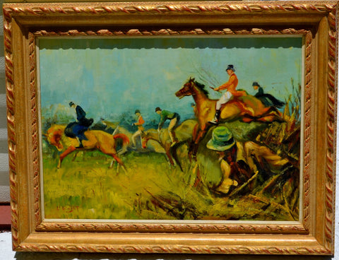 Louis Basset (French, b. 1948), Horse Riding, oil on board, signed