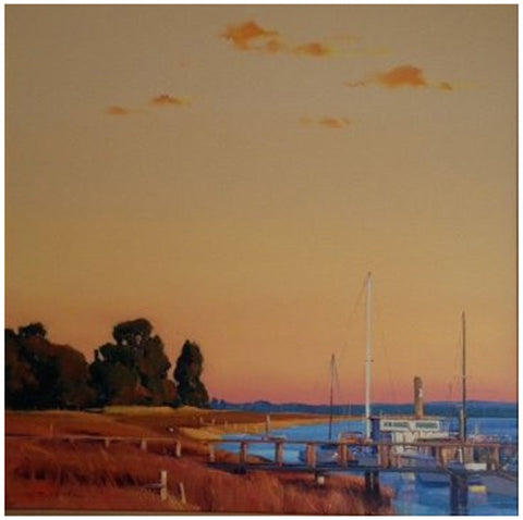 "William C. Hook (American, b. 1948), ""Pier Glow"", acrylic on canvas, signed"