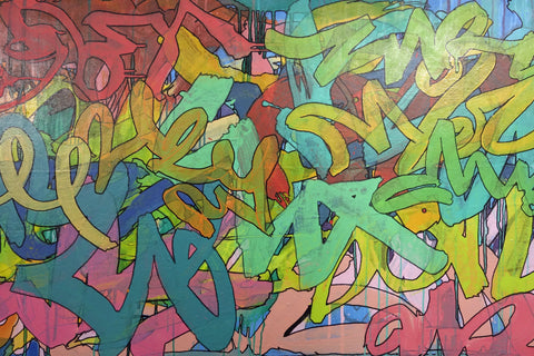 American School (contemporary), Untitled (Graffiti), 2009, acrylic and mixed media on canvas