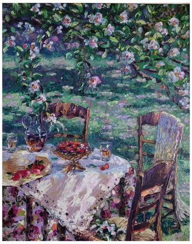 Henry Gordon Wang (Chinese/Canadian, b. 1959), Garden Party, oil on canvas, signed