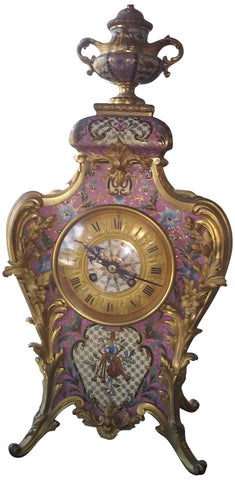 French Ormolu and Champlevé Mantel Clock, retailed by Tiffany & Co., movement by Samuel Marti et Cie, Paris, ca. 1880-90