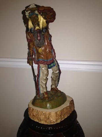After Carl Kauba (Austrian, 1865-1922), Chief White Cloud, polychrome painted bronze sculpture, signed in the cast