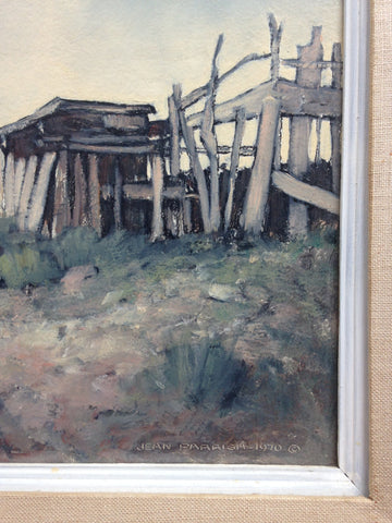Jean Parrish (American, 1911-2004), Ranchos de Taos, 1970, oil on board, signed and dated