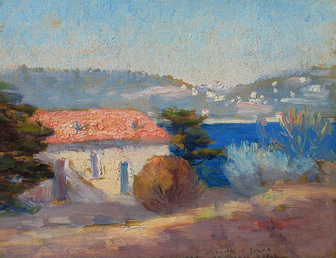 William Silva (American, 1854-1948), A Blue Day, France, 1923, oil on canvasboard, signed