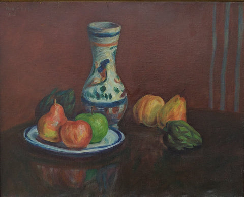 Walter Pach (American, 1883-1958), Vase and Fruit, 1928, oil on canvas, signed