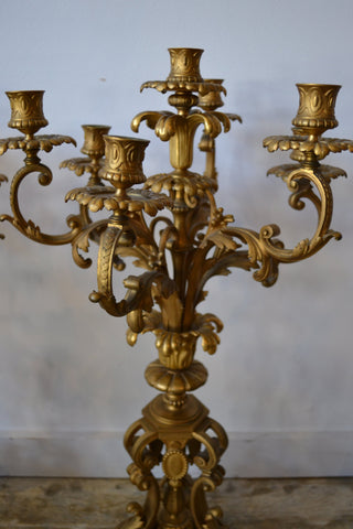 Pair of French Gilt Bronze Seven-Light Candelabra, late 19th/20th century