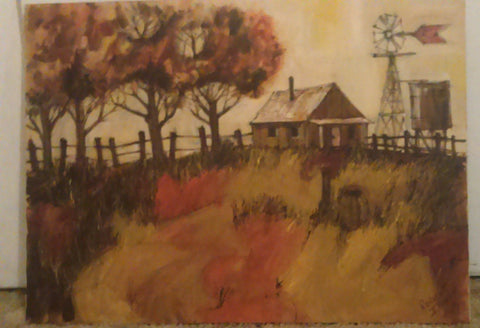 Robert Irwin (American 20th Century), Country Landscape with Windmill, oil on canvas, signed