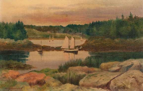 Alfred Barraud (American, 1849-1925), Sailboats in a rocky cove, 1897, oil on canvas, signed