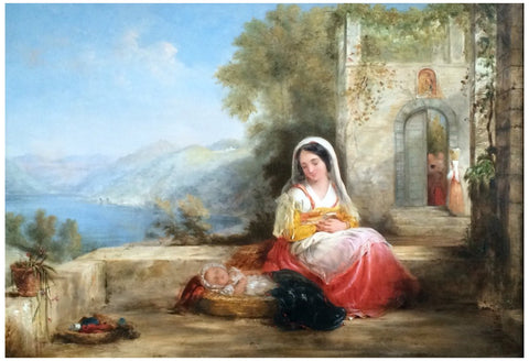 John Bridges (British, 1818-1854), Tuscan Genre Scenes, two works, ca. 1848, oil on panel, signed