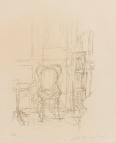 Alberto Giacometti (Swiss, 1901-1966), Chaise et Guéridon, 1960, lithograph, signed (Lust 33)