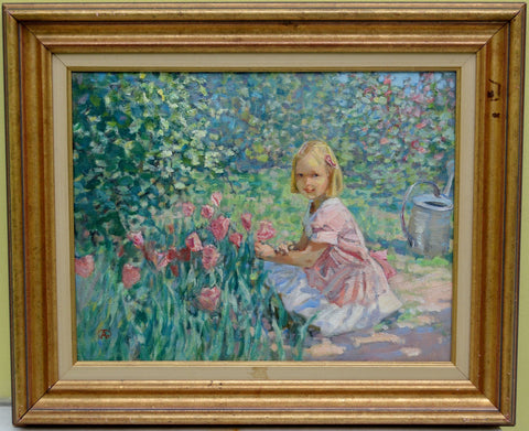 Alexander Tioutrine (Russian, b. 1951), Little Girl in the Garden, oil on canvas
