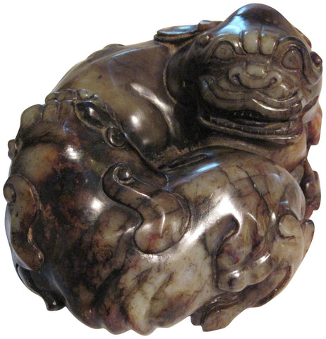 Chinese Mottled Jade Carving of Recumbent Guardian Lions, 20th century