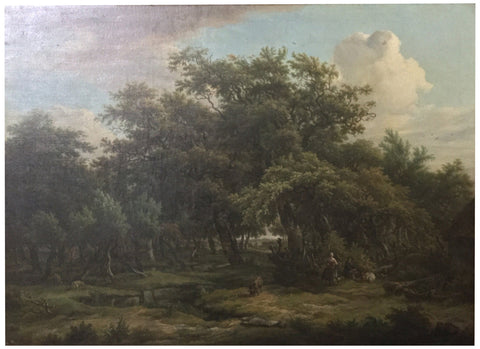 Attributed to Egbert van Drielst (Dutch, 1746-1818), A wooded landscape with a shepherd conversing with a peasant woman, oil on canvas