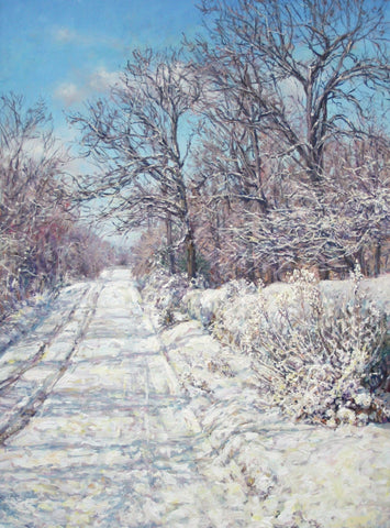 Jimmy Leach (American, 21st century), Private Lane in Winter, 2013, acrylic on canvas, signed