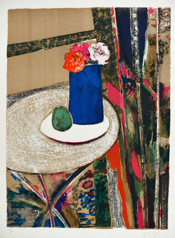 René Genis (French, 1922-2004), Les roses au vase bleu, 1973, lithograph in colors, signed, ed. 120