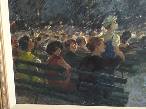 Mary C. Peterson (American, 20th century), Night View Band Shell 'Grant Park', oil on canvas, signed