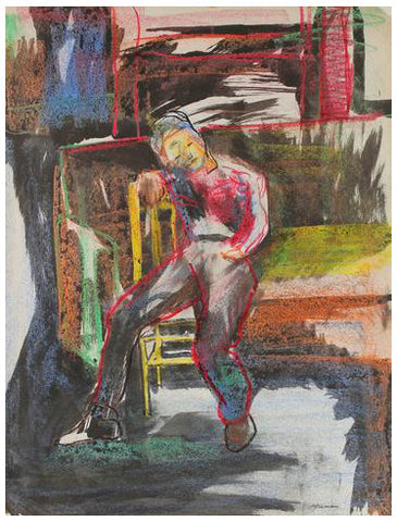 Jack Freeman (American, 1938-2014), Seated Figure, ca. 1950, mixed media on paper, unsigned
