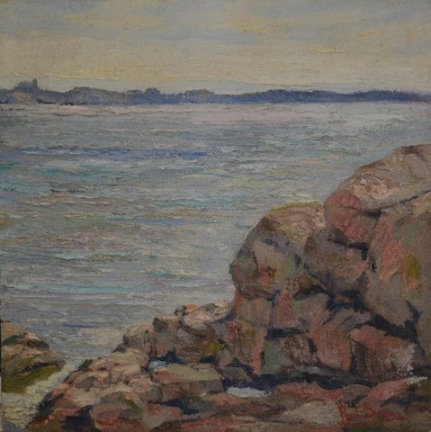 Paul E. Saling (American, 1876-1936), Coastal View, oil on masonite, signed